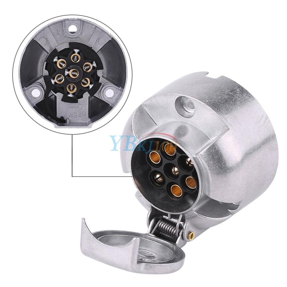 12v 7 Pin Trailer Plug Socket Wiring Connector Adapter For Caravan Towbar Silver
