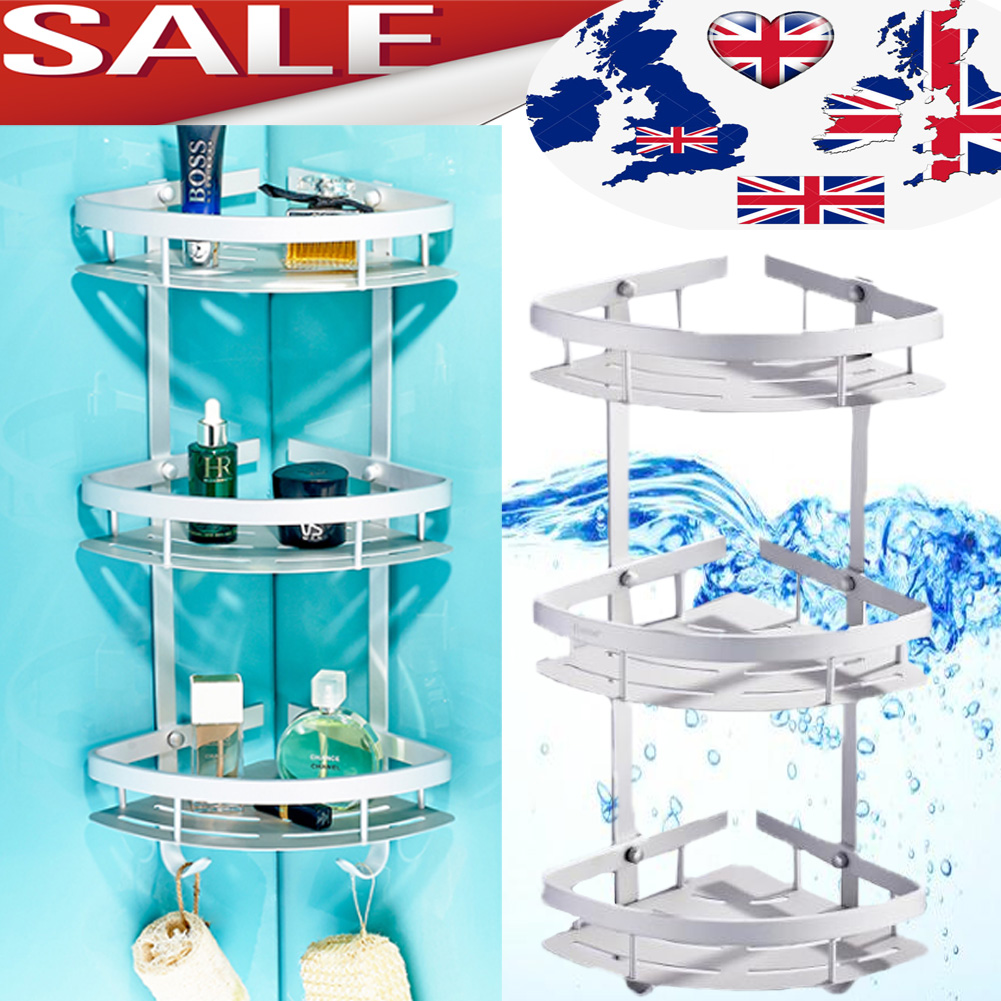 Caddy Shower Shelf Storage Aluminum Organiser Corner BathRoom ...