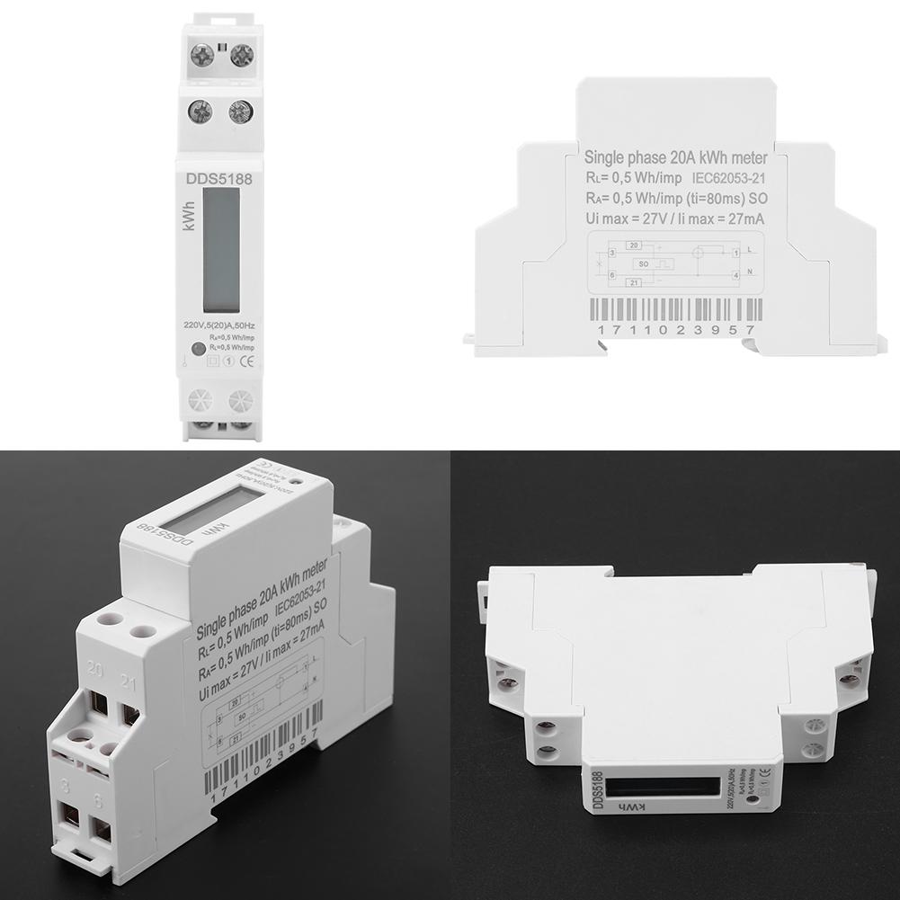 Max 20 25 30 32a 220v Ac Electric Digital Lcd Watt Hour Meter Din Single Phase Kwh Wiring Diagram Rail