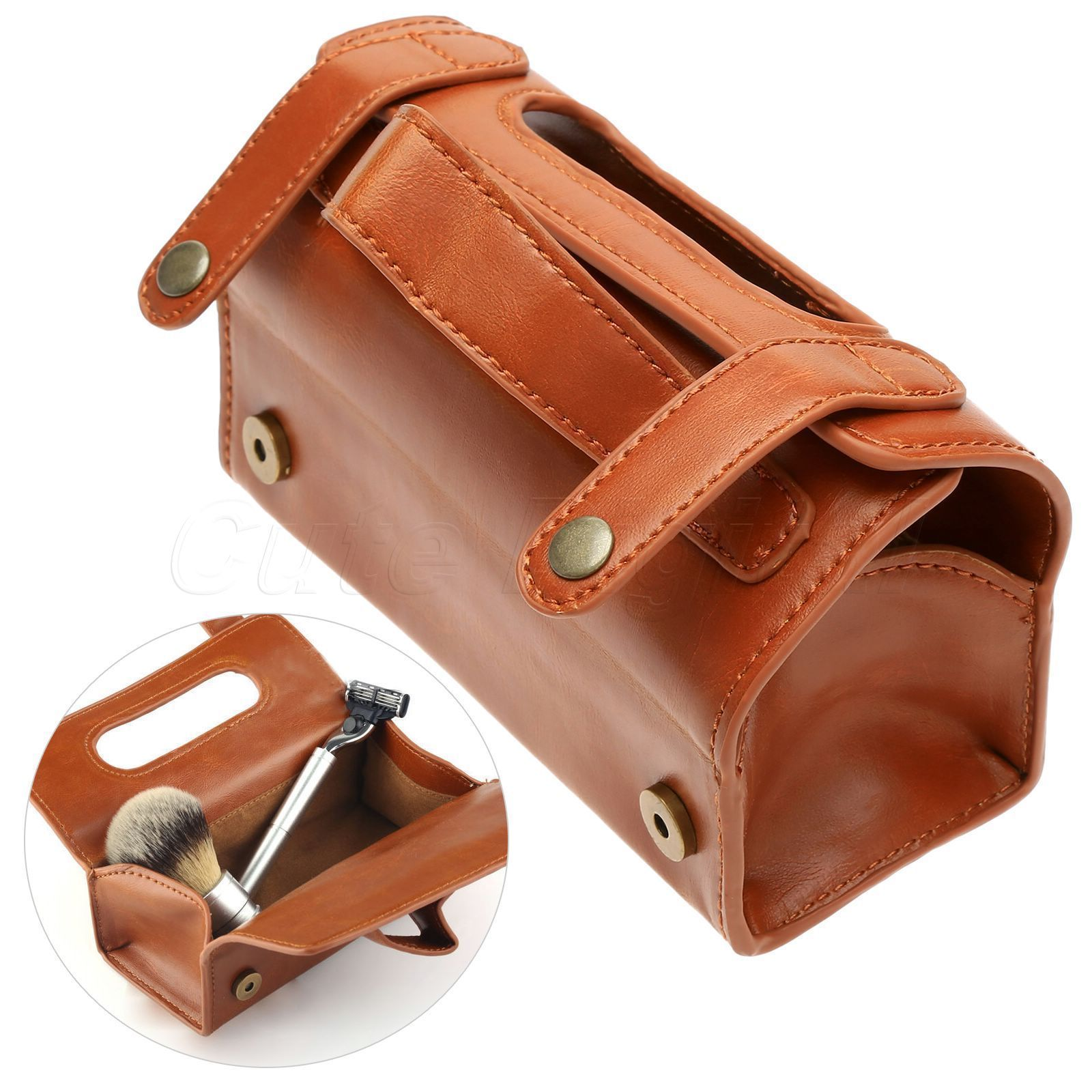 Simple Men/'s Travel Brown Leather Pouch Case Bag for Shaving Brush /& Razor Use
