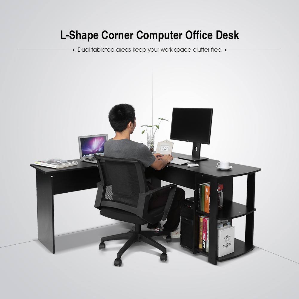 computertisch eckschreibtisch winkelschreibtisch pc tisch regal schwarz wei se ebay. Black Bedroom Furniture Sets. Home Design Ideas