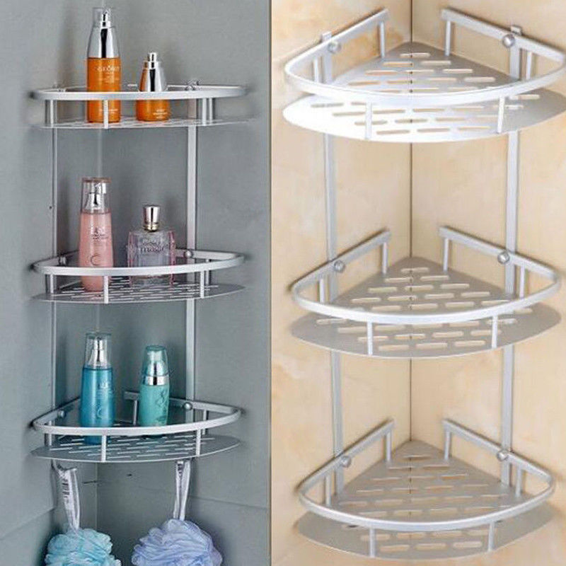 2/3/4 Tier Shower Bath Caddy Shelf Bathroom Corner Rack Storage ...
