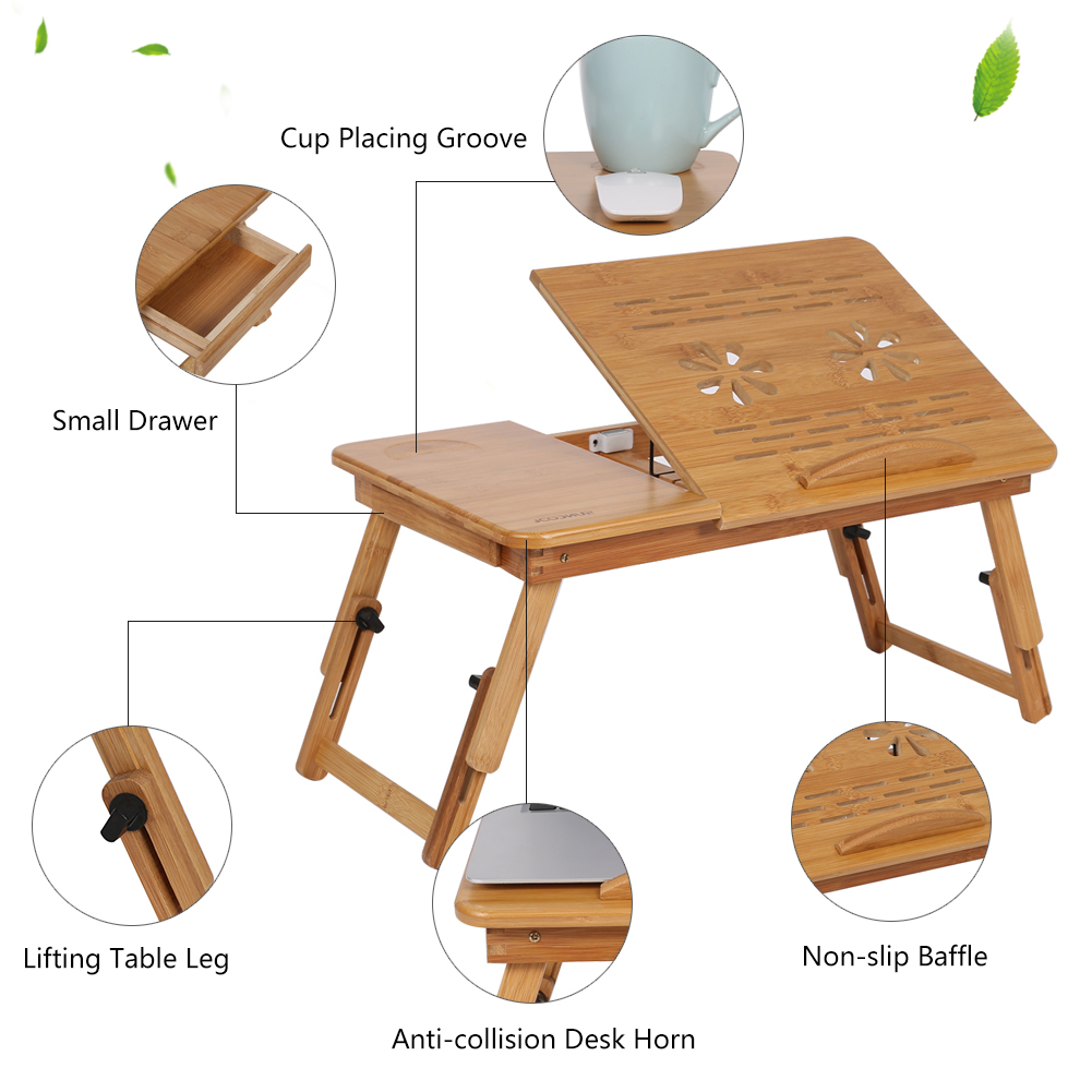 Portable Folding Lap Desk Bamboo Laptop Breakfast Tray Natural Bed
