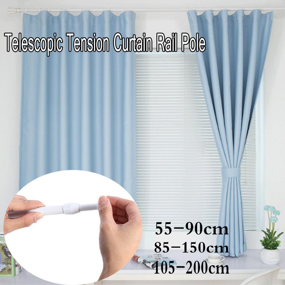Extendable Telescopic Shower Curtain Rail Pole Rod Bath Door Window ...