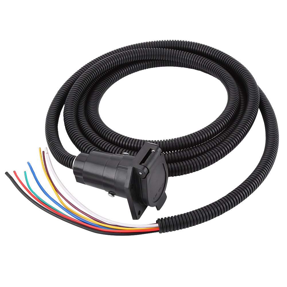 10FT Foot 7Way Trailer Cable Cord Wire Harness Blade Molded Light ...