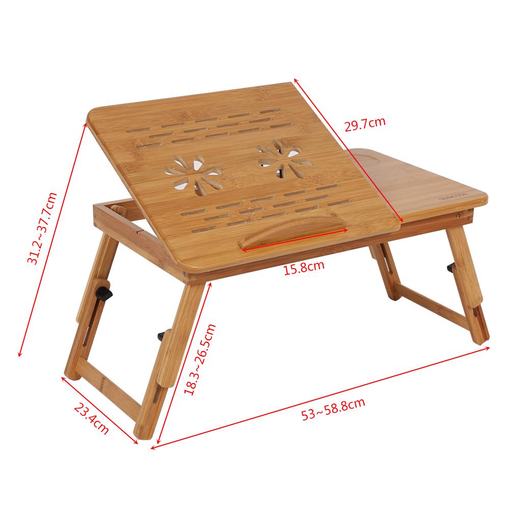 AU-Folding Wood Bamboo Laptop Table Desk Notebook Book ...