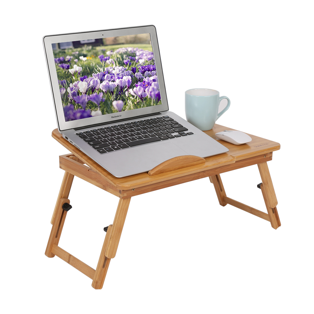 AU Folding Wood Bamboo Laptop Table Desk Notebook Book Reading Bed Tray  Stand