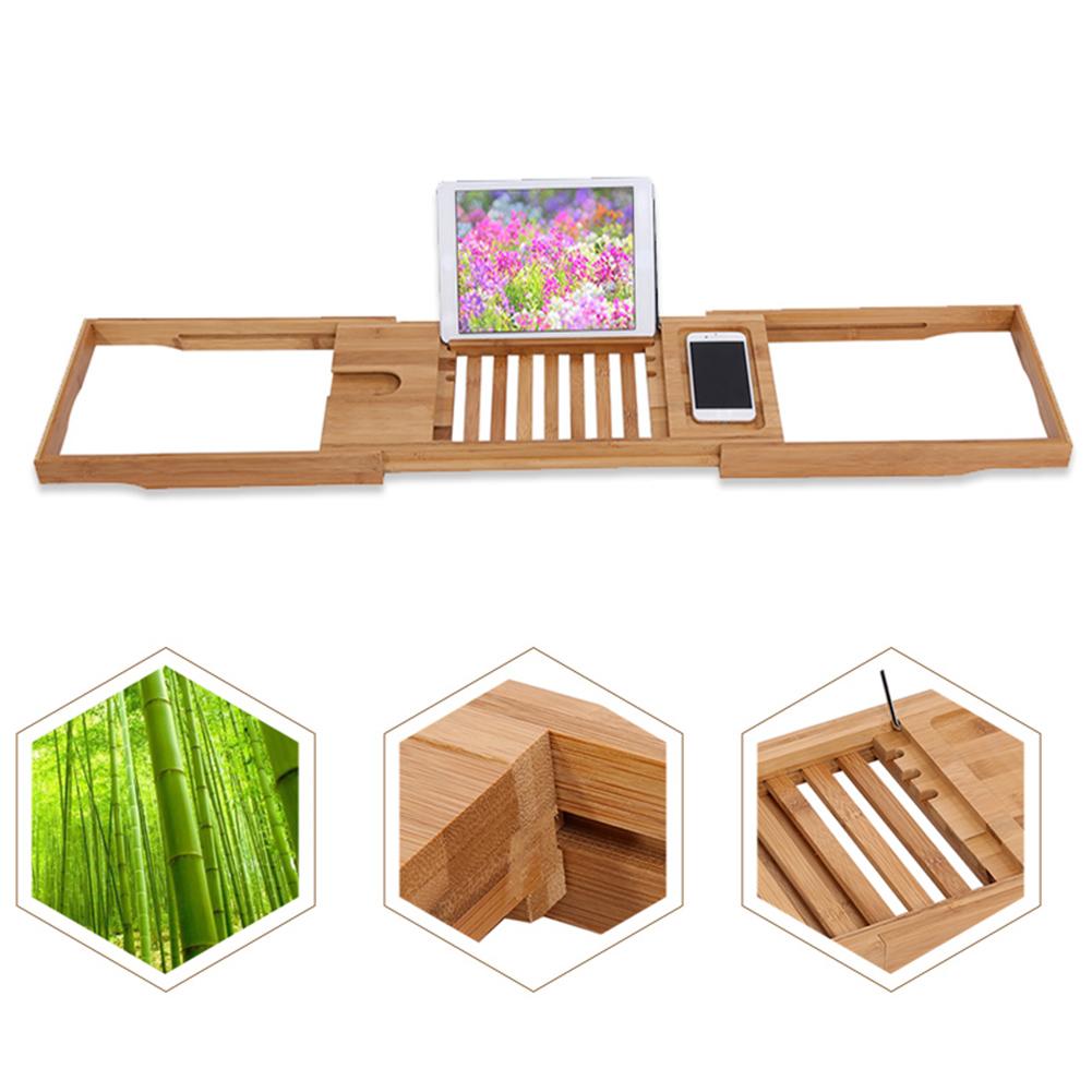 Adjustable Bamboo Bathtub Rack Bath Caddy Wine Phone Books Holder ...
