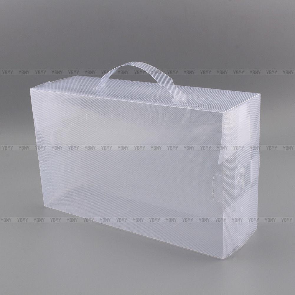 20 100pcs transparent clear plastic shoe storage box foldable stackable boxes au ebay. Black Bedroom Furniture Sets. Home Design Ideas