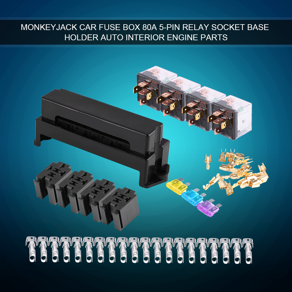 Car Auto 10 Way 5-Pin Circuit Standard Blade Fuse Box Block Holder Engine  Hot