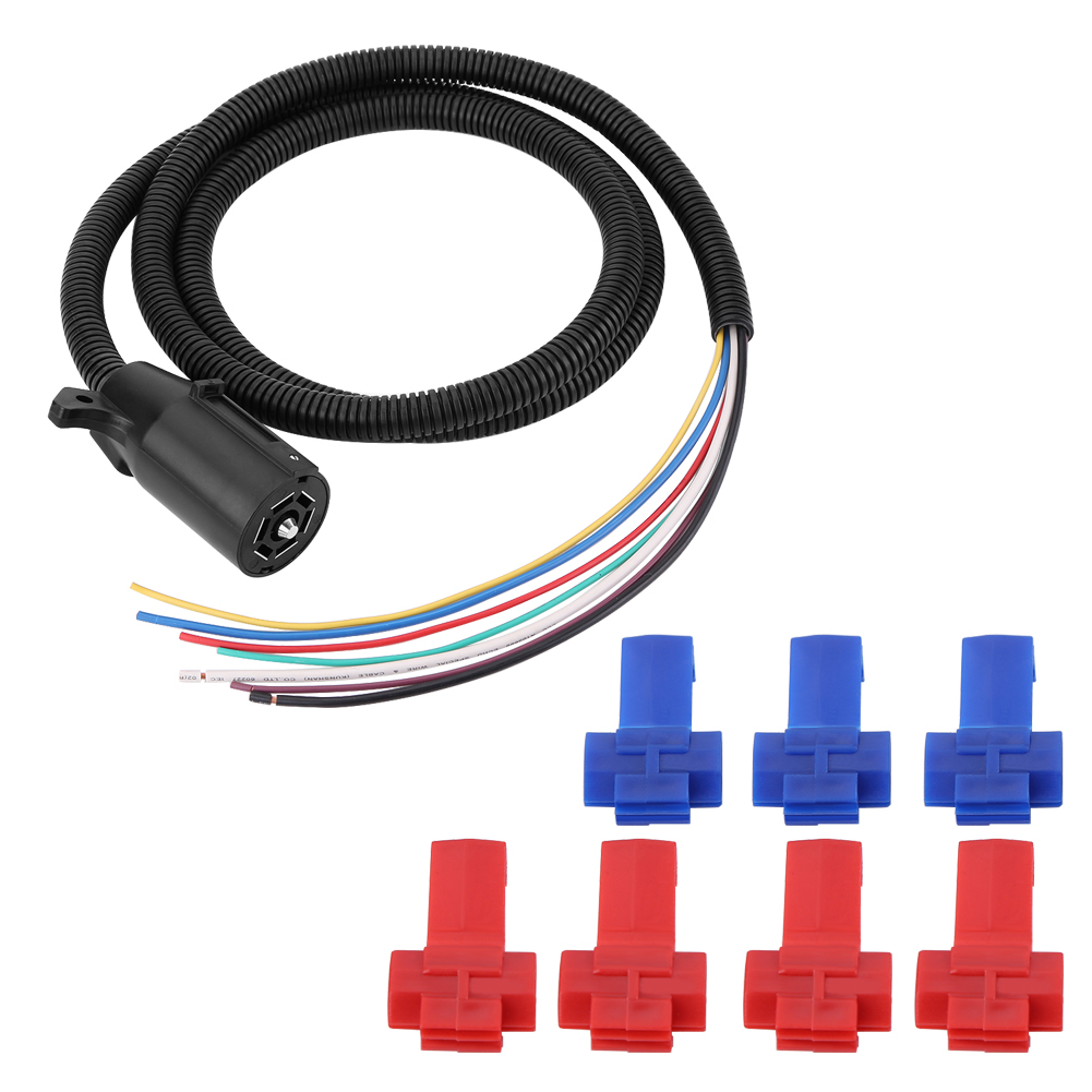 7 Way Trailer Plug Cable Cord Rv Caravan Towing Light Connector Harness Wiring