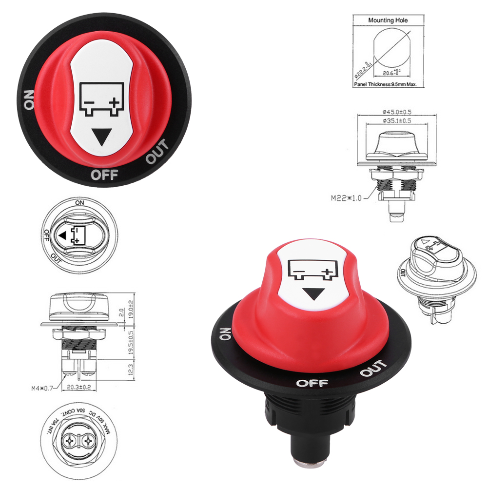 Vehicle Battery Isolator Disconnect Power Kill Switch For