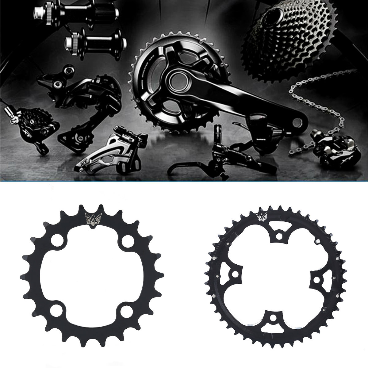 Black 22T//44T Mountain Road Bike 104mmBCD Chainring For Shimano 9 Speed Crank ZH