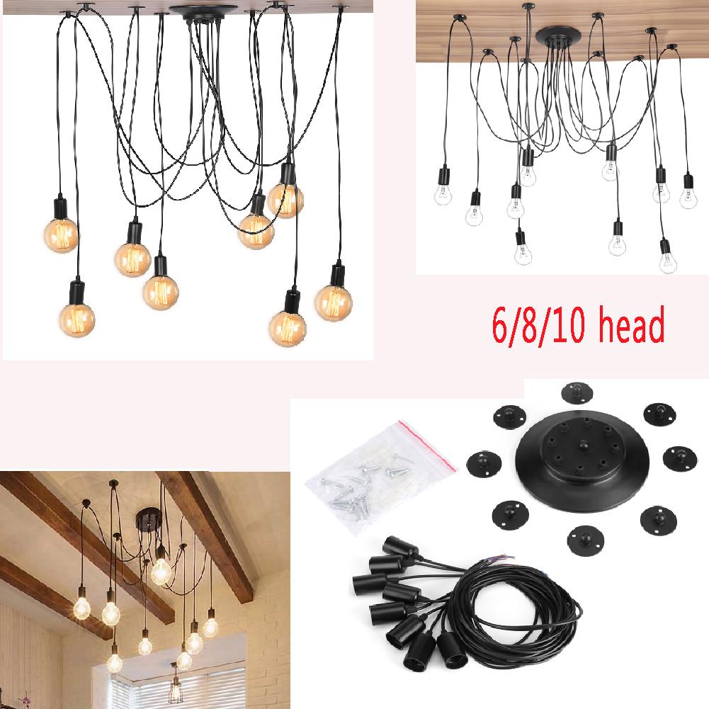 Edison light fixture ebay 6810 head e27 industrial pendant lamp retro edison rope ceiling light fixture arubaitofo Image collections
