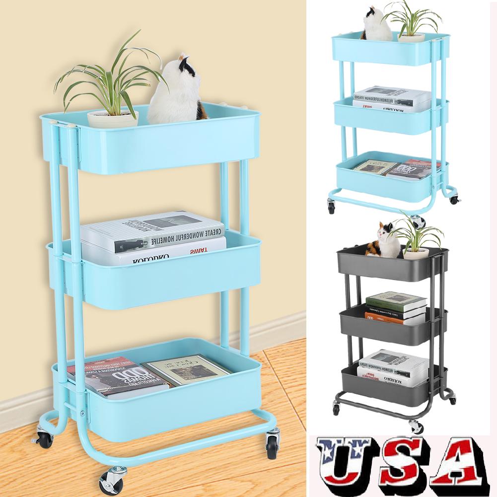 3-Tier Steel Rolling Kitchen Trolley Cart Island Wire Rack Basket ...
