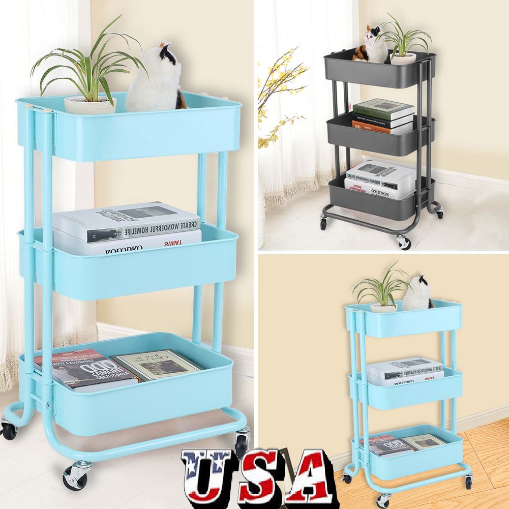 3-Tier Steel Rolling Kitchen Trolley Cart Island Wire Rack Basket ...
