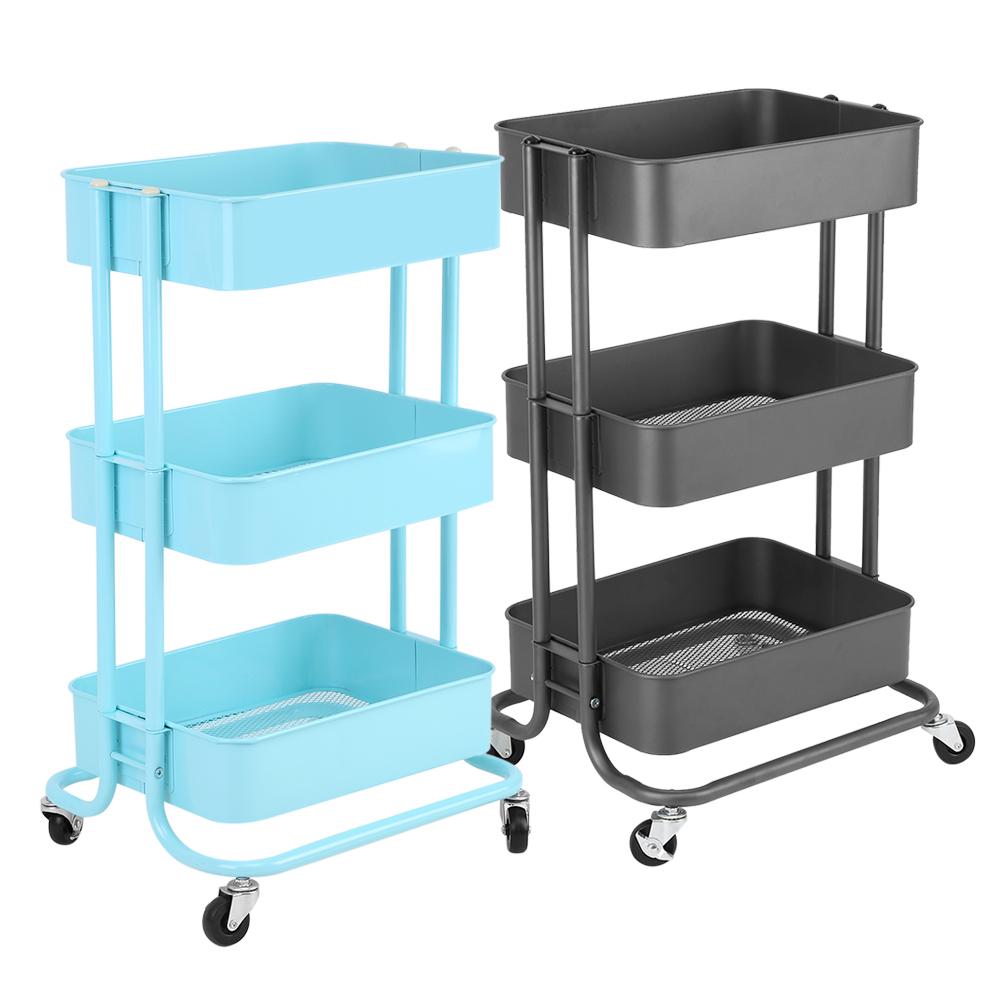 Utility 3 Tier Rolling Trolley Cart Island Storage Basket Wine Rack ...