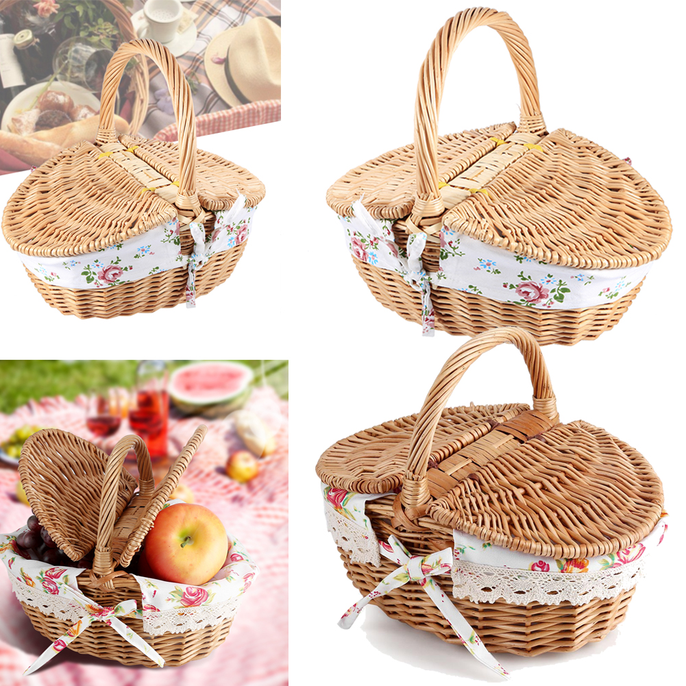 Vintage Wooden Wicker Picnic Basket Shopping Hamper