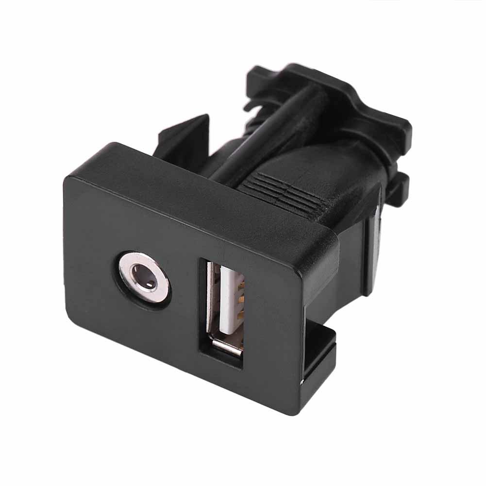 New Car Dash Flush Mount 3.5mm Audio Socket USB Headphone