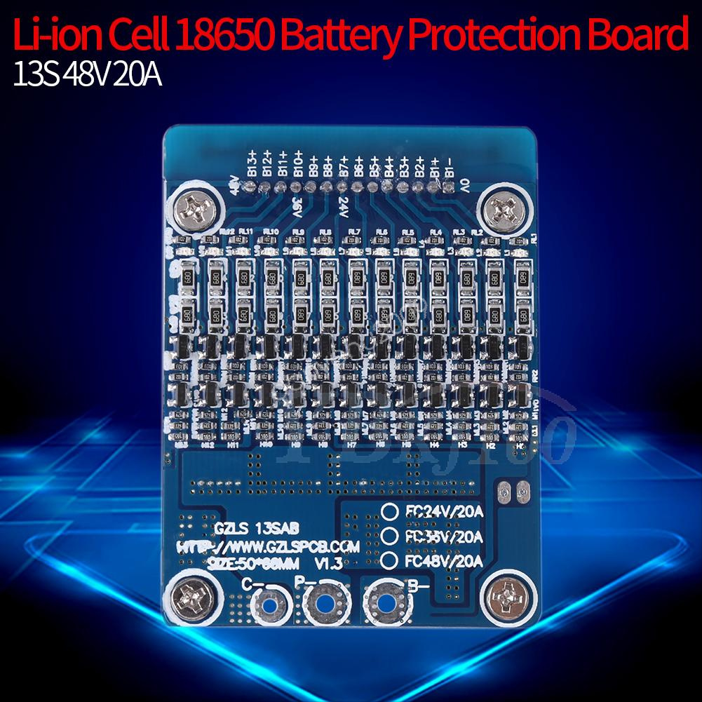 13S 48V 20A Li-ion Lithium Cell 18650 Battery Protection BMS PCB Board Balance