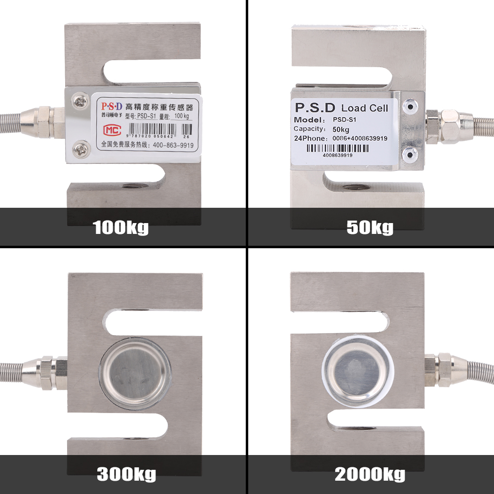 Pull Pressure Force S-type High Precision Load Cell Scale Sensor Weighting Sensor with Cable 100kg