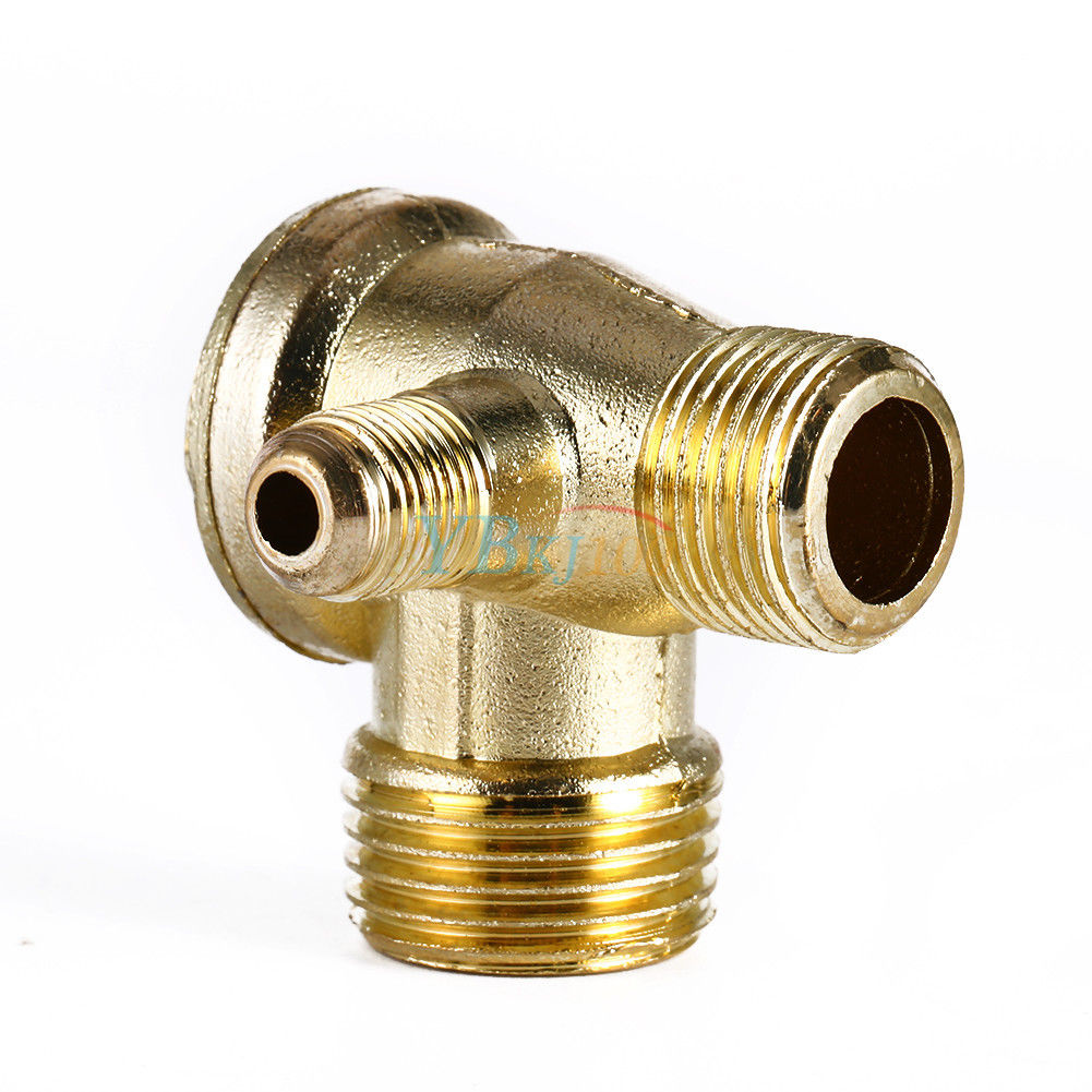 golden male 3 way brass thread air compressor check valve connector tool ebay. Black Bedroom Furniture Sets. Home Design Ideas