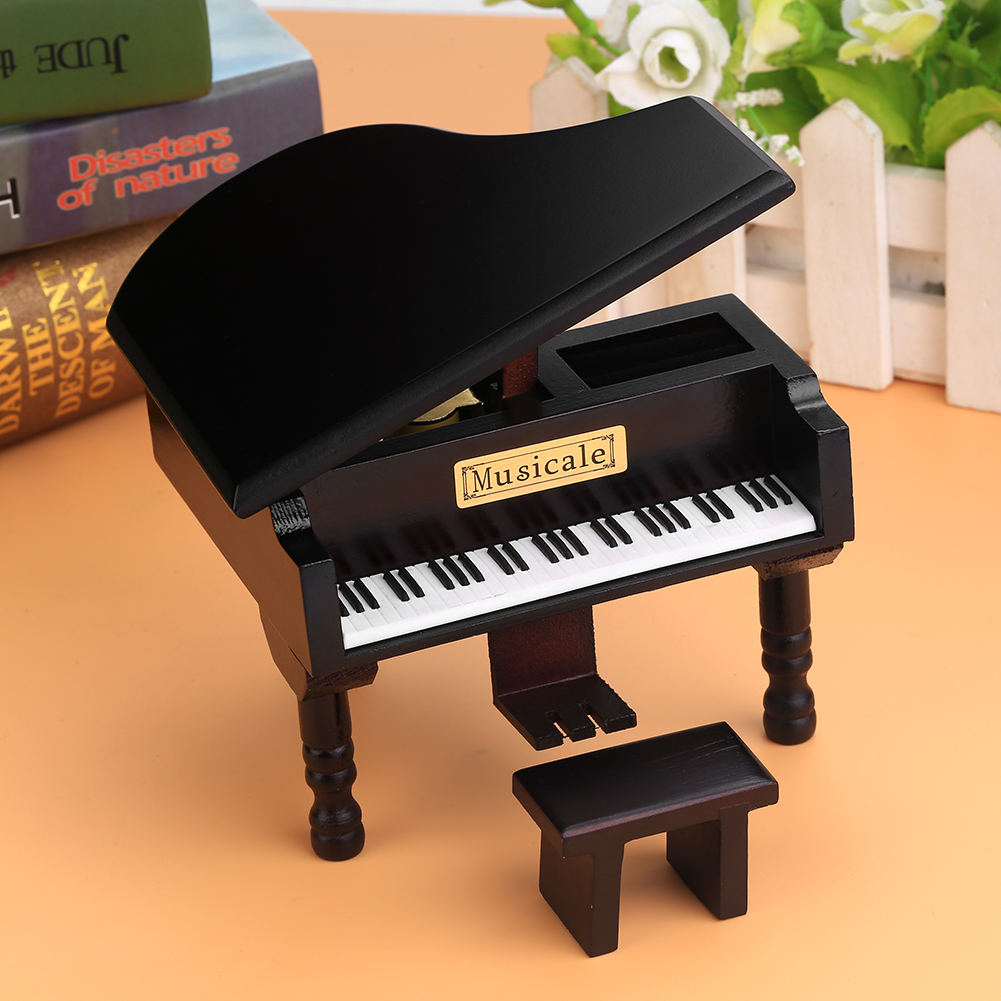 Grand piano shaped windup wooden music box w small stool for Small grand piano
