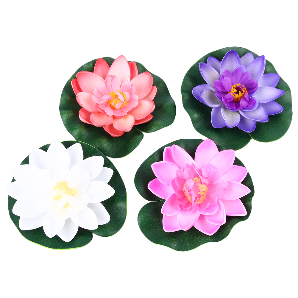 Artificial Fake Lotus Water Lily Floating Flower Garden Pool Pond