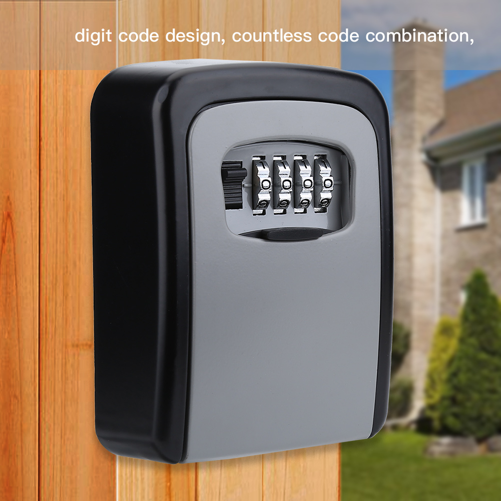 Details about Key Storage Lock Box Wall Mount Holder 4 Digit Combination  Safe Outdoor Security