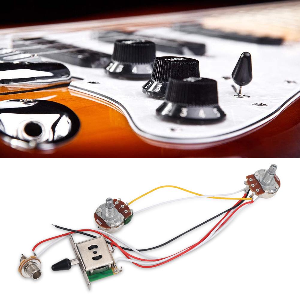 Electric Guitar Wiring Harness Kit Set 3 Way Toggle Switch 1 Volume Tone 500k