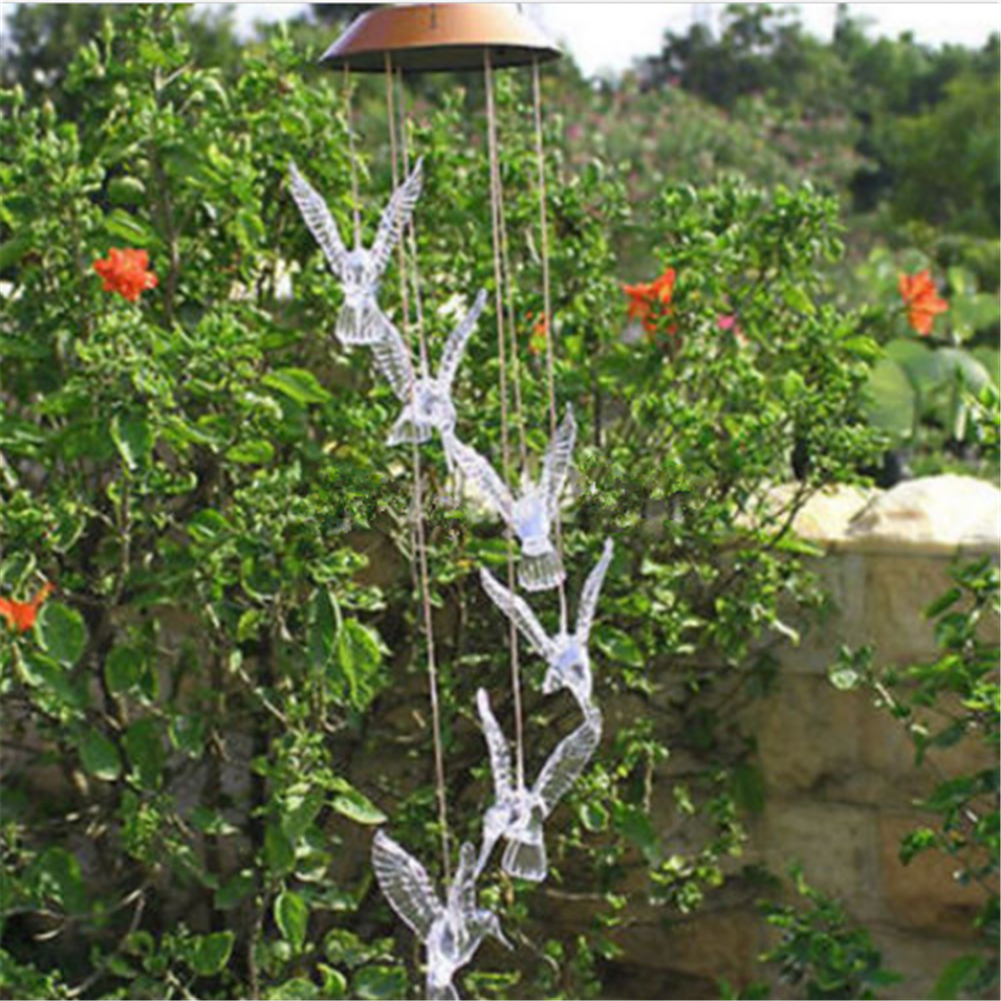 LED Solar Hummingbird Wind Chimes Light Color Changing Lamp Home ...