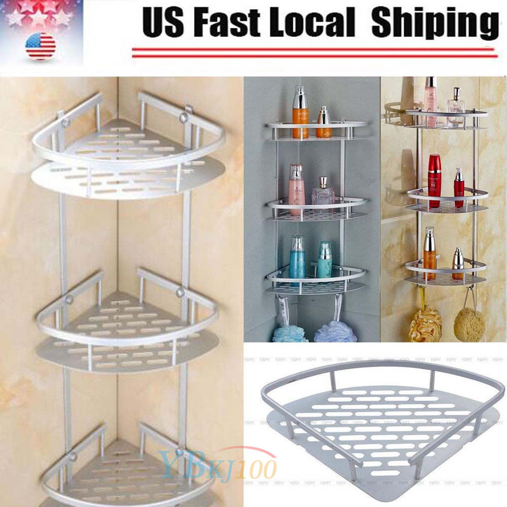 3 Tier Corner Shower Caddy Basket Bathroom Chrome Cosmetic Shelf ...