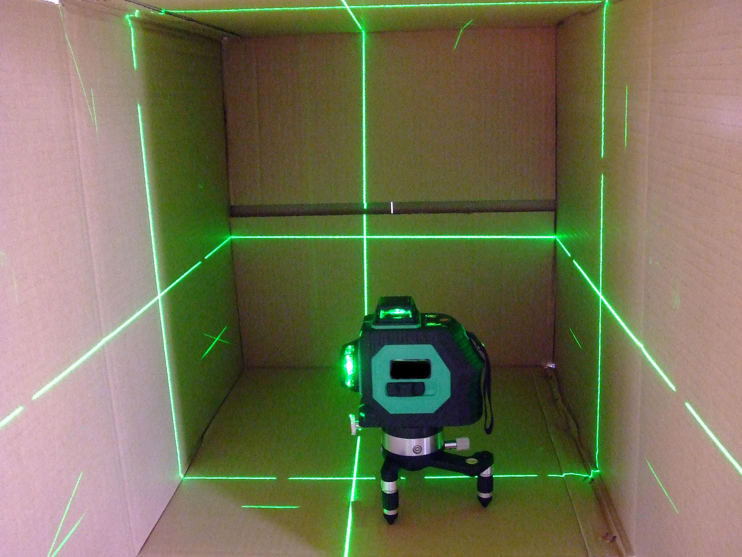 hot outdoor 12 line 3d laser level detector receiver red green line vertical ebay. Black Bedroom Furniture Sets. Home Design Ideas