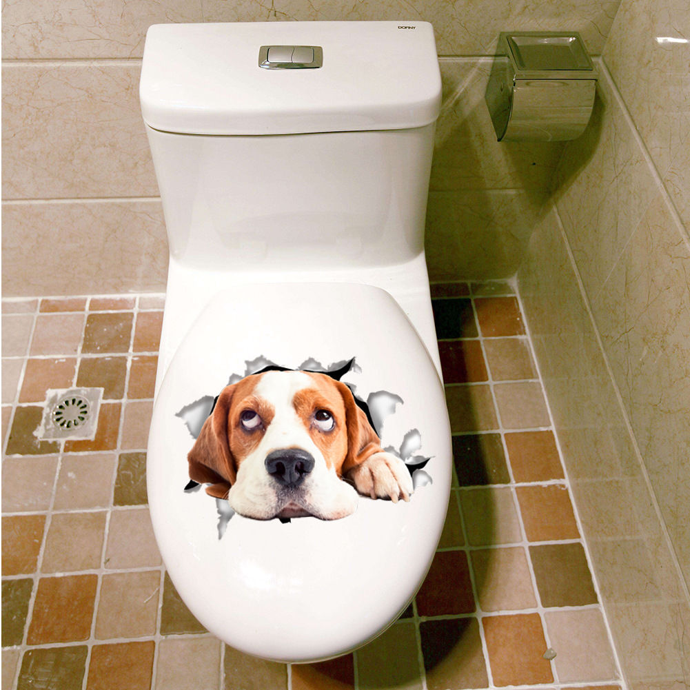 Cat Dog DIY Toilet Seat Cover Lid Sticker Bathroom Wall Art Decor Decal  Removabl