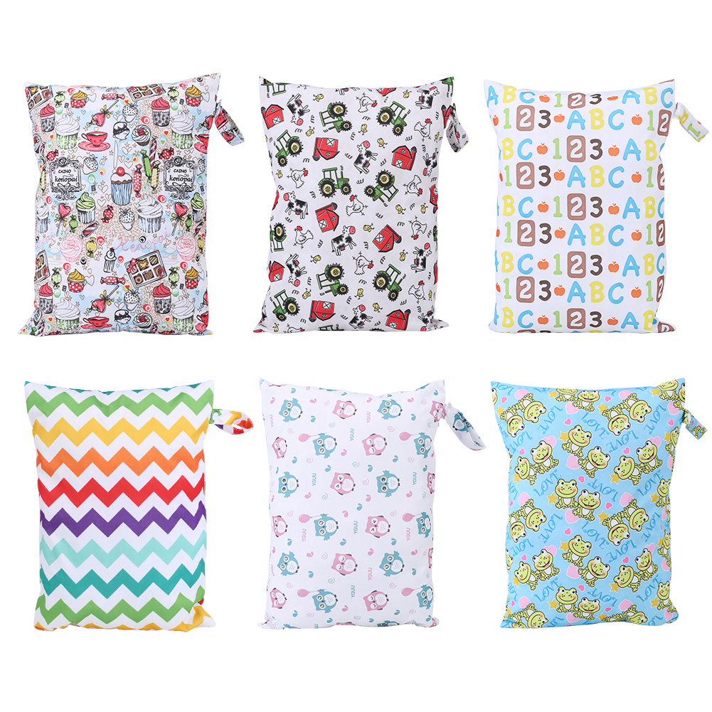 Baby Changing Bags Waterproof Zip Wet Dry Bag for Infant Cloth Diaper Nappy Pouch Reusable