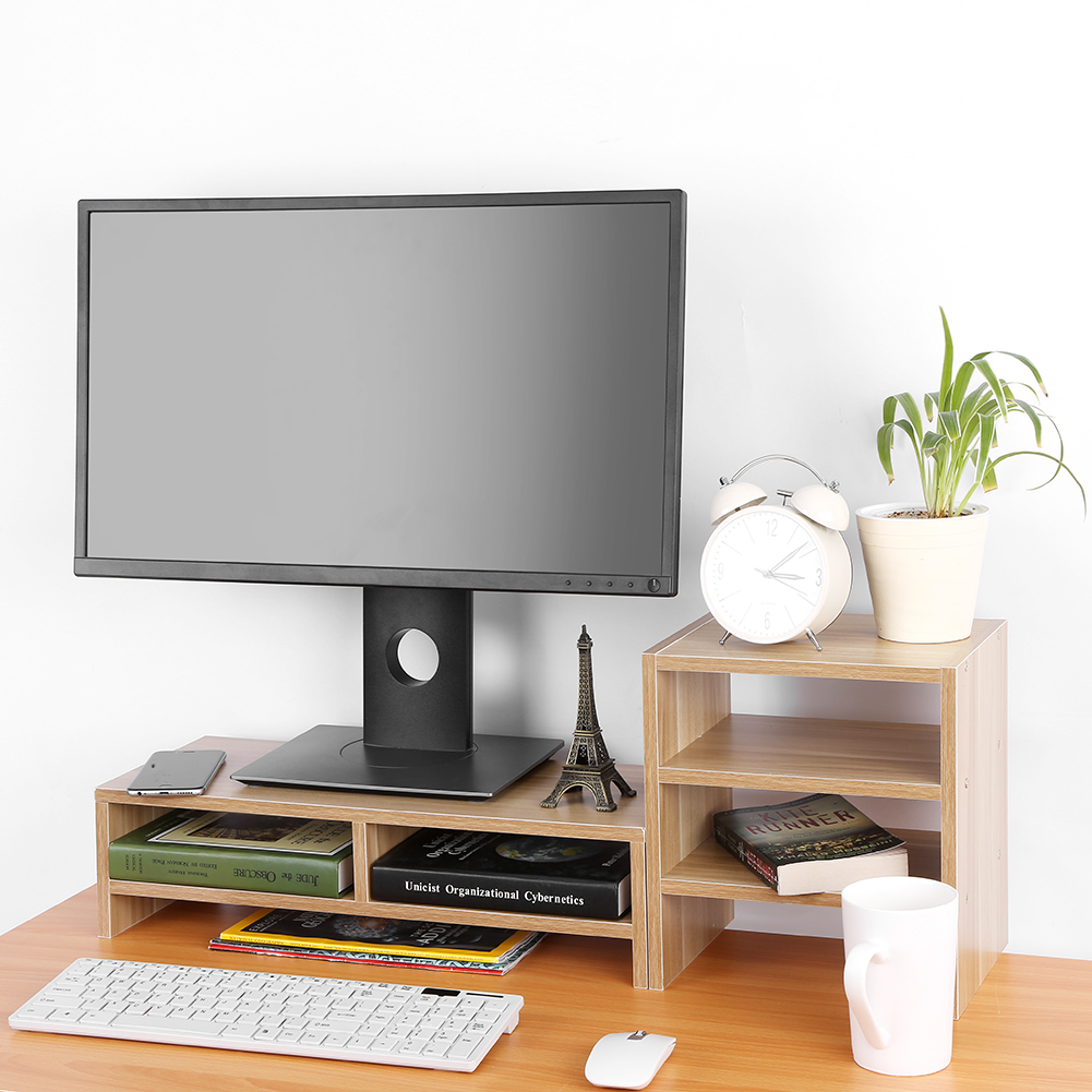 computer monitor stand desk 3 layer shelf table laptop riser lcd tv desktop ebay. Black Bedroom Furniture Sets. Home Design Ideas