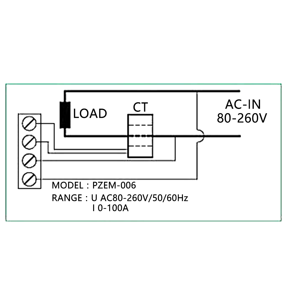 Peacefair Digital Ac80 260v 100a Volt Watt Kwh Meter Ammeter Wiring Diagram With Ct Description