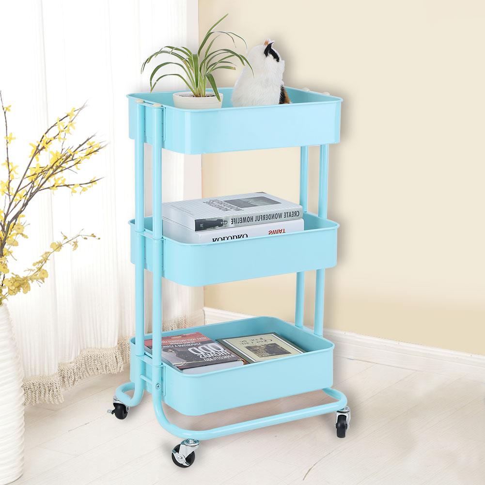 3 Tier Kitchen Trolley Cart Carbon Steel Storage Shelf Wheels Rack ...