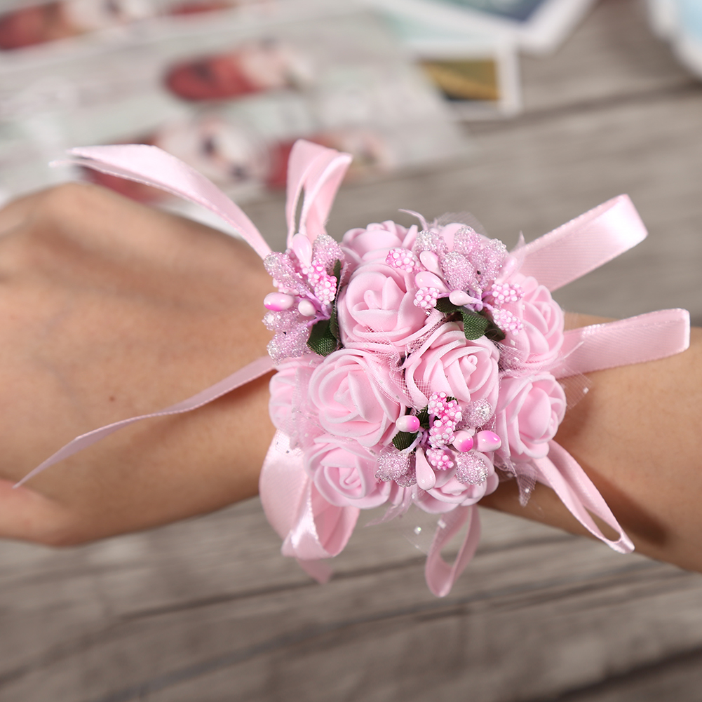 7cm Wedding Bridesmaid Prom Party Wrist Corsage Pearl Bracelet Hand ...