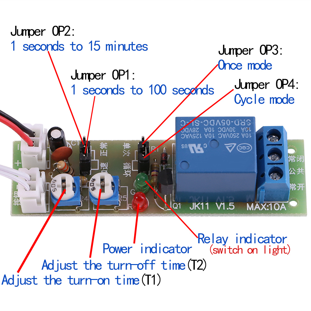 Wiring Diagram For Speakers : Pc dc v adjustable trigger cycle timer delay on off