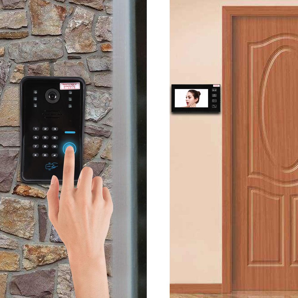 7 lcd video t rsprechanlage mit kamera klingelanlage video wechselsprechanlage ebay. Black Bedroom Furniture Sets. Home Design Ideas