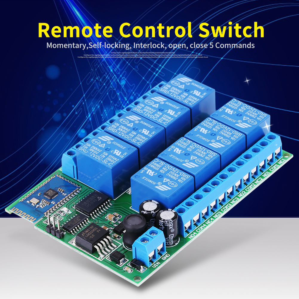 Dc 12v 8 Channel Bluetooth Relay Module Remote Control Switch For Android Hot Dh