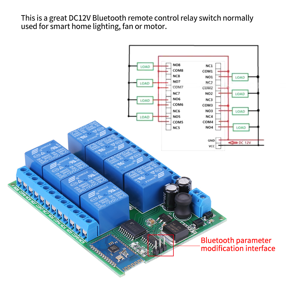 Dc 12v 8 Channel Bluetooth Relay Module Remote Control Switch For Gets Hot Android Dh