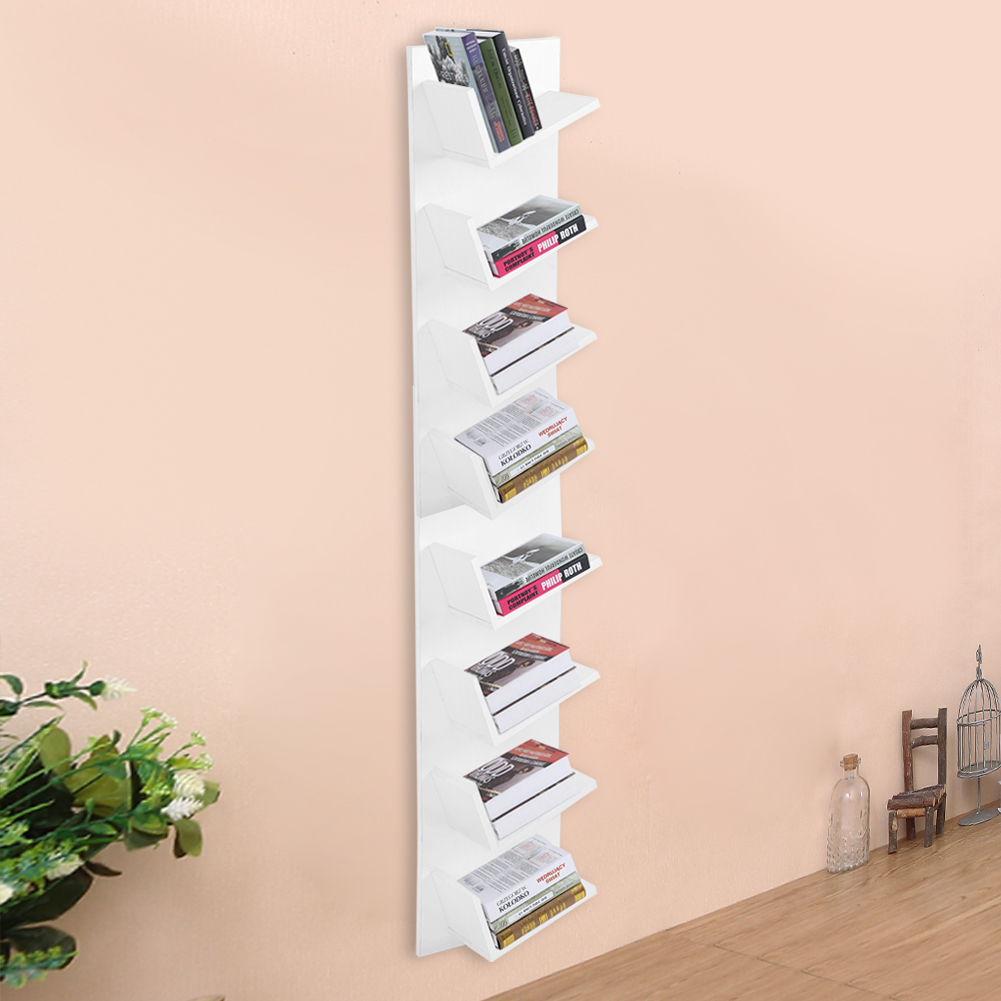 8 Tier Cddvdbook Wall Mount Shelf Display Storage Rack