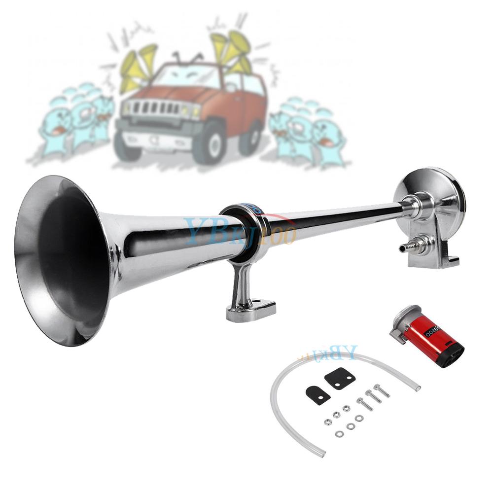 12v chrom lufthorn fanfare hupe druckluft horn mit. Black Bedroom Furniture Sets. Home Design Ideas