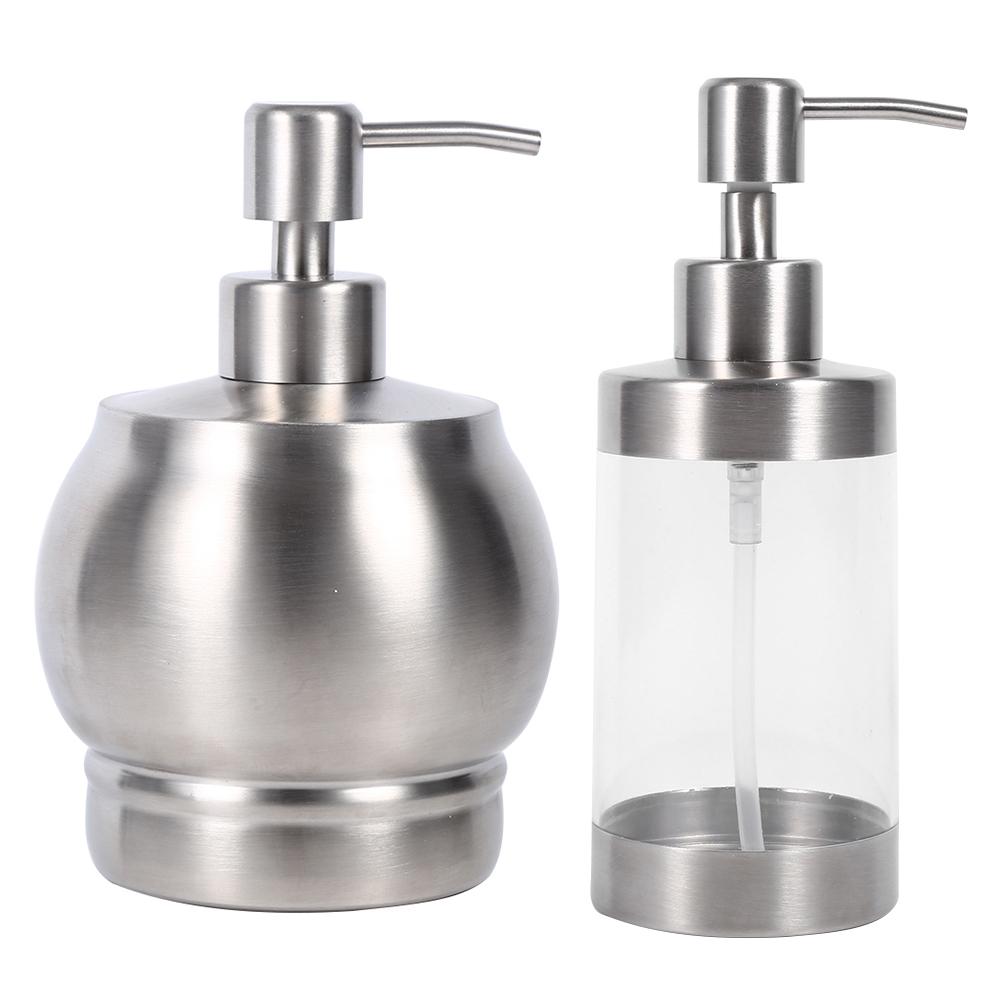 350/500ml Liquid Soap Dispenser Pump Lotion Bottle Stainless Steel ...