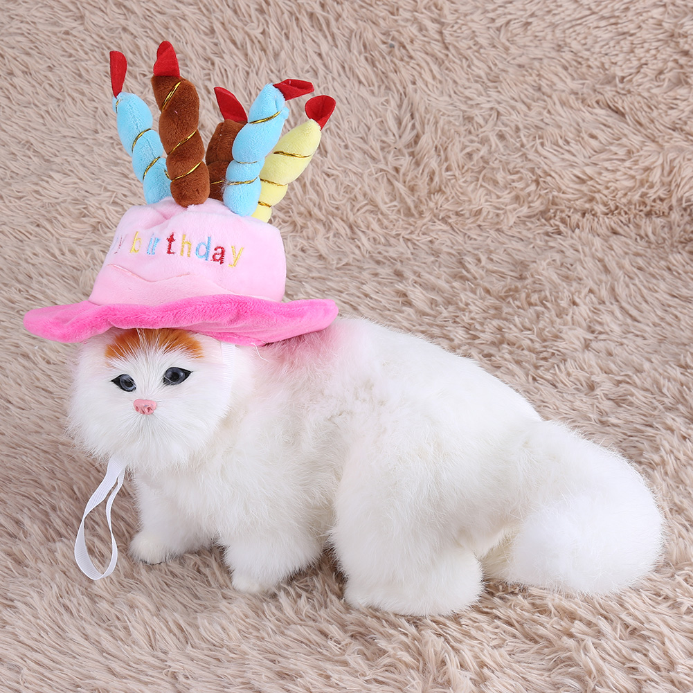 Dog Cat Hat Pet Cap Birthday Party With Happy Candles For Dogs Cats
