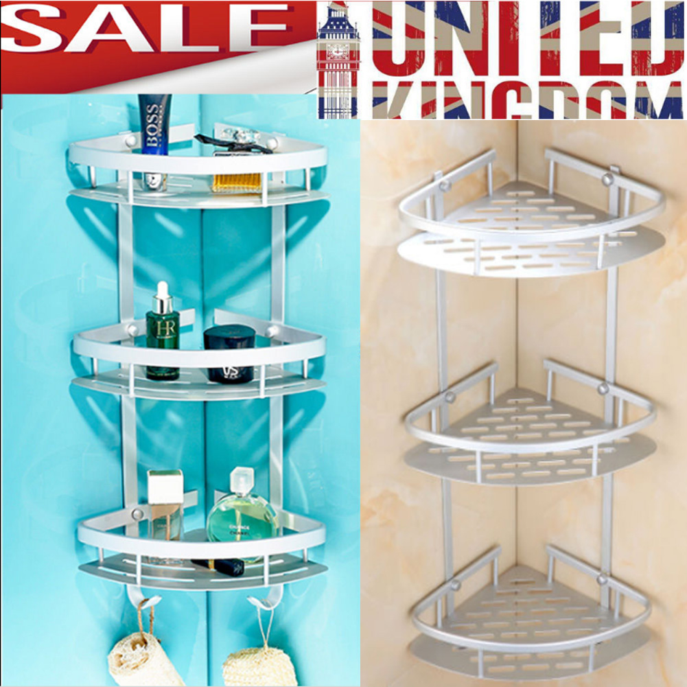3 Tier NO RUST BATHROOM TELESCOPIC CORNER SHELF STORAGE SHOWER CADDY ...