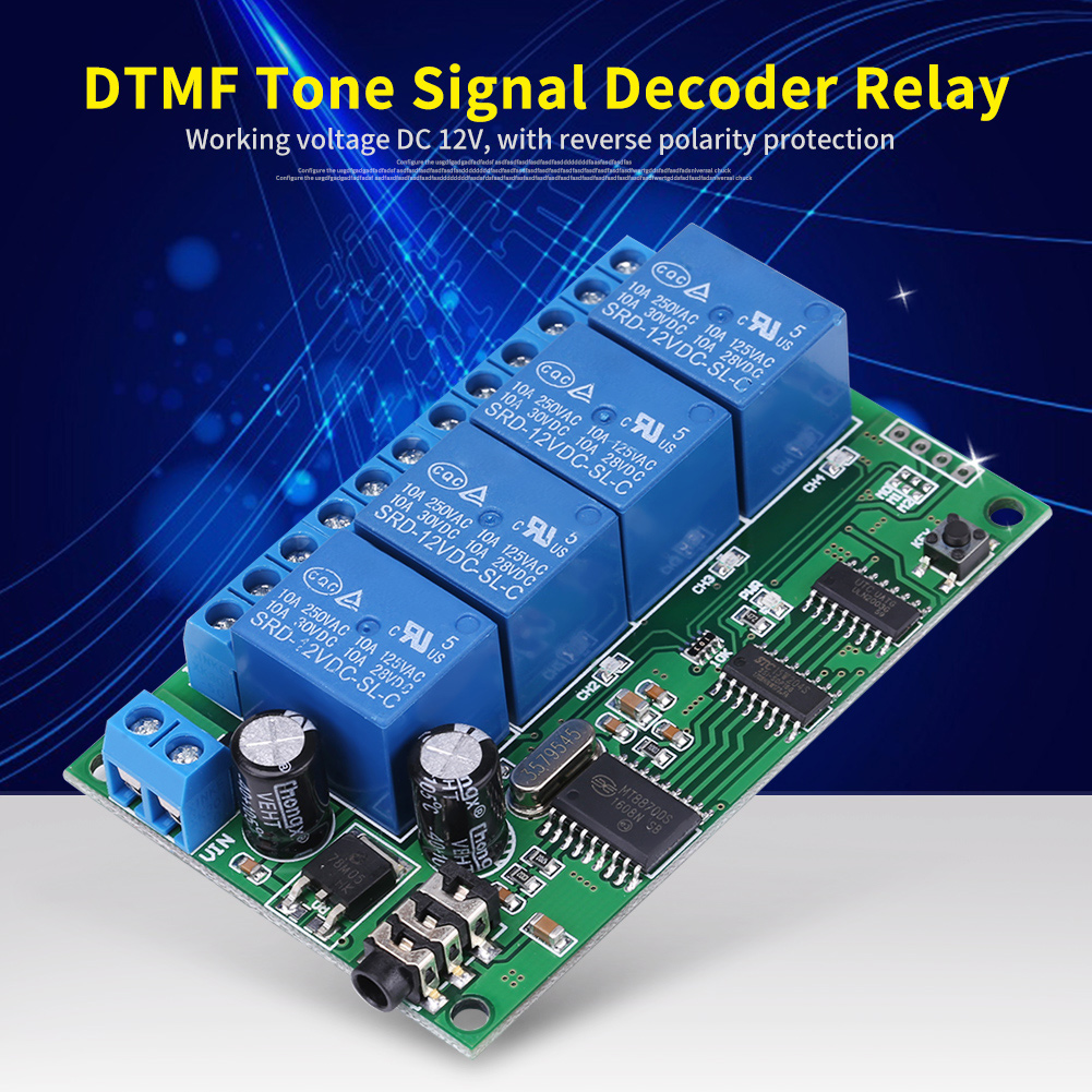 AD22B04 4-channel audio decoder DTMF relay remote control command module