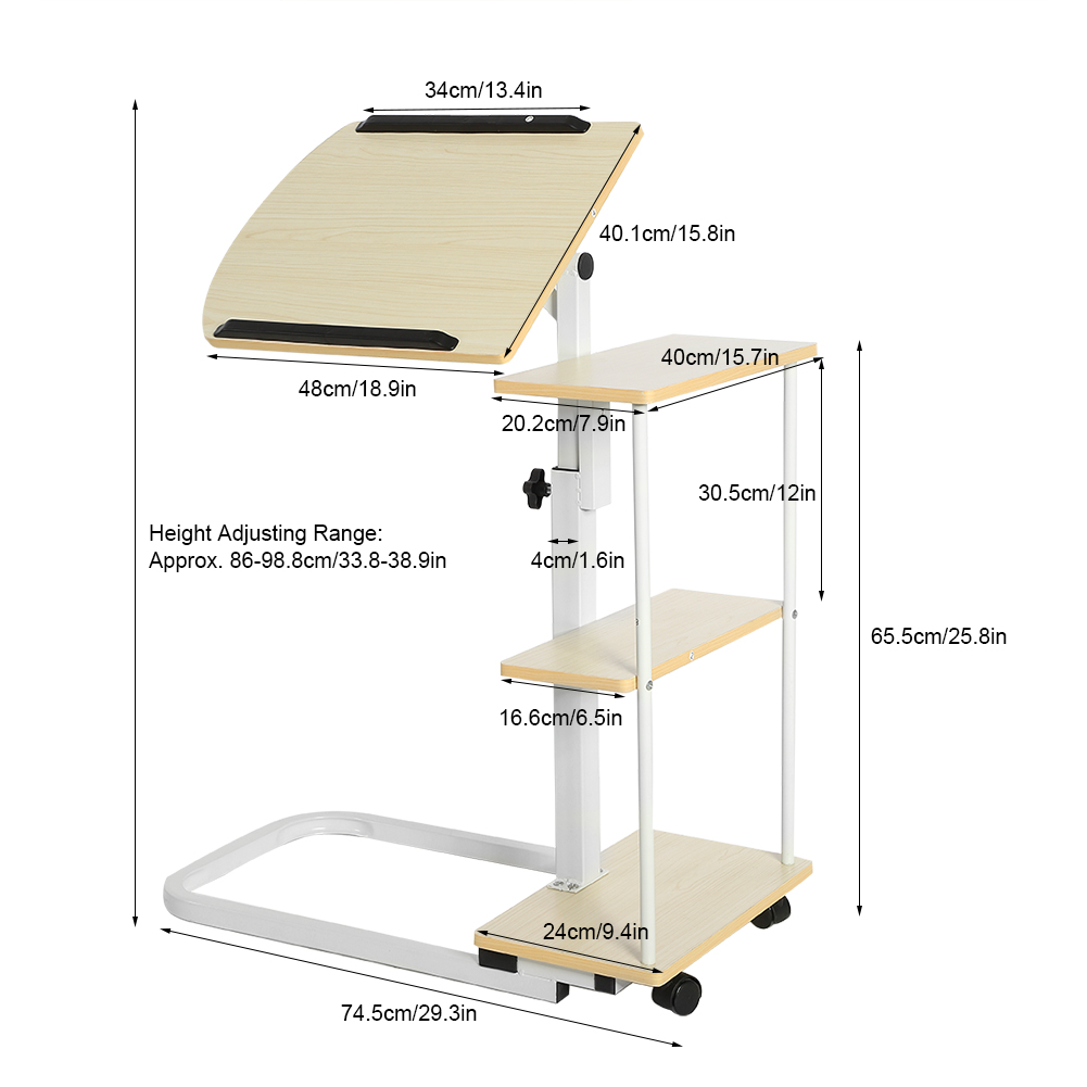 Adjustable laptop computer home office desk study table for Divan overbed table
